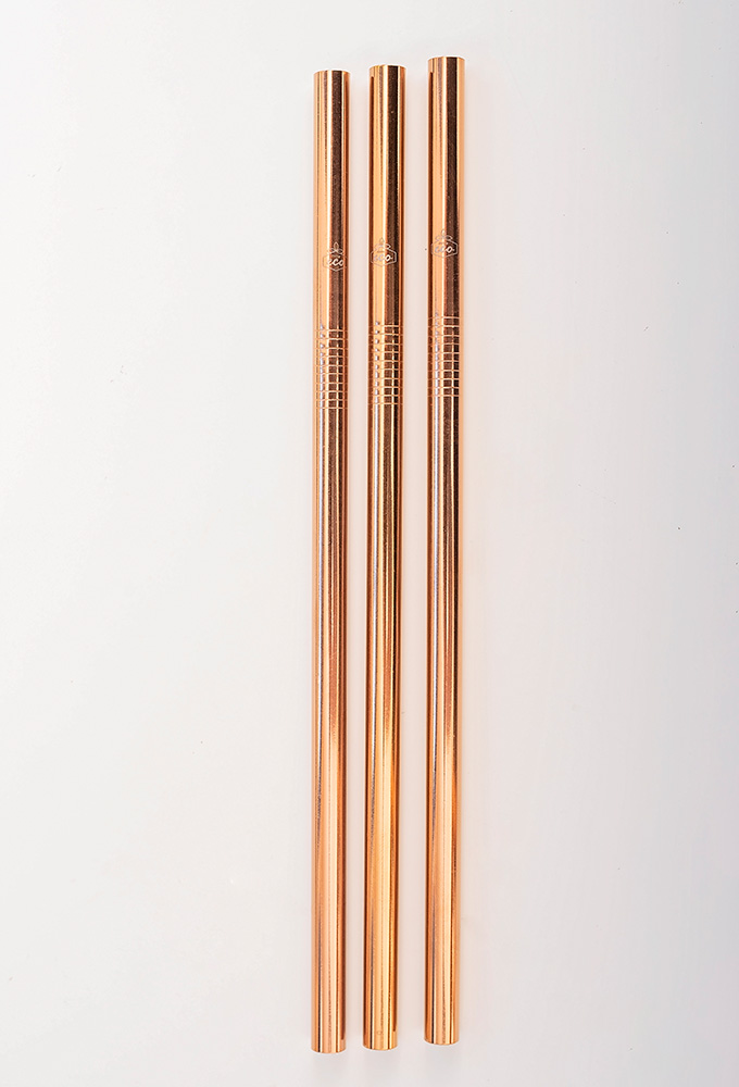Straight Rose Gold Stainless Steel Straw Kit One