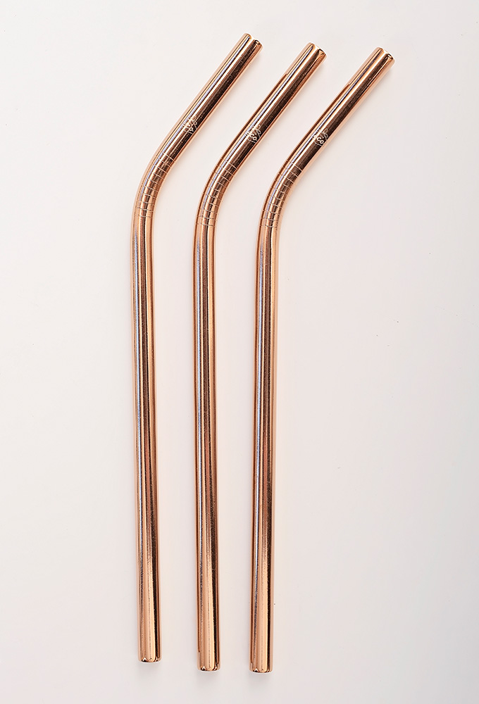 Bent Rose Gold Stainless Steel Straw