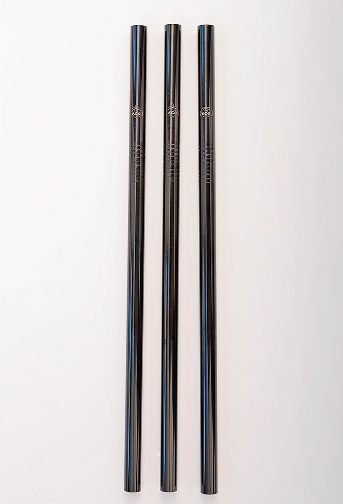 Straight Black Stainless Steel Straw Kit One