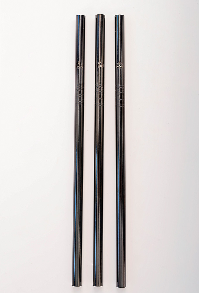 Straight Black Stainless Steel Straw