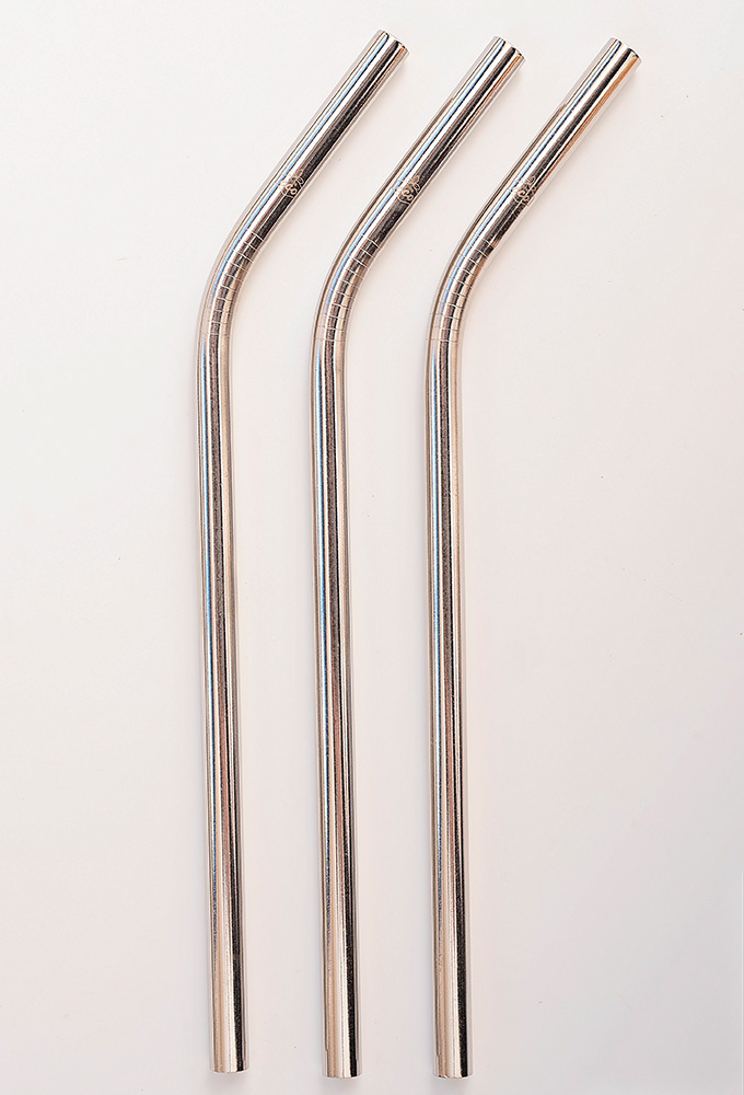 Bent Silver Stainless Steel Straw Kit One