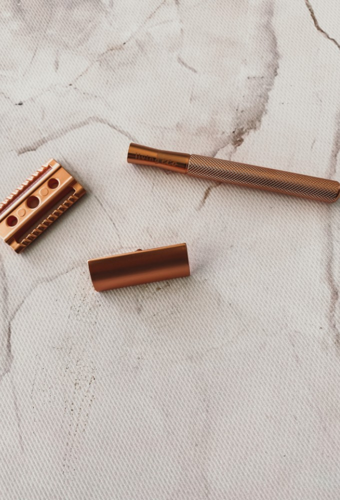 Rose Gold Double Edge Safety Razor Two